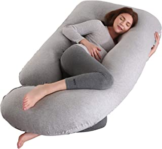 BATTOP Pregnancy Pillow,Full Body Maternity Pillow for Pregnant Women with Washable Premium Cotton Cover for Back Belly Hips Legs (Light Grey)