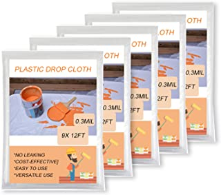 Oiyeefo Clear Plastic Sheeting Drop Cloths for Painting, 5 Pack 9x12ft Plastic Tarp Waterproof Dustproof Almost Tear Resis...