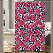 SfeatruCurtai Tropical Hibiscus Flowers and Leopard Pattern Tropics Botanical Jaguar African Animal Waterproof Polyester Bath Curtain(72