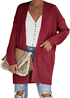 Gemijack Womens Plus Size Cardigan Sweaters Casual Lightweight Open Front Knitted Outwears Coats with Pockets