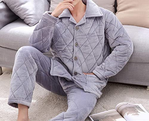 CWJ Pyjamas - Pyjama à Manches Longues en Velours Corail épais pour Hommes