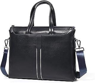Shoulder Bags Men's Business Tote Cowhide Square Briefcase 6L Laptop Messenger Bag Black Leather Work Bag