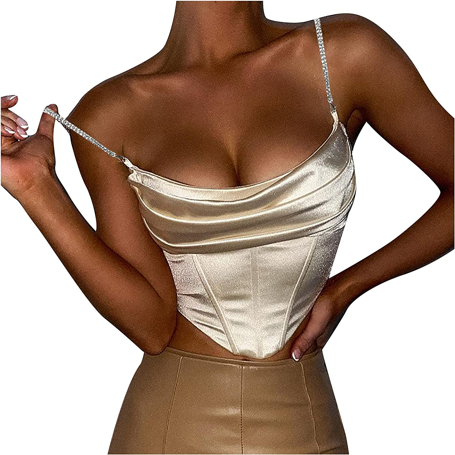Womens Summer Tops Women's Solid Color Diamond Sling Sexy Slim-fit Chest Wrap Waist Tank Top Blouses for Women Fashion