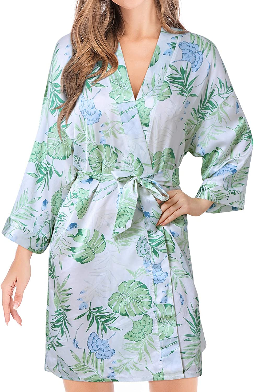 SUNNYME Women Satin Robes 3/4 Sleeve Short Bathrobes Bridesmaid Robes Silky Kimono Robe Sleepwear Loungewear