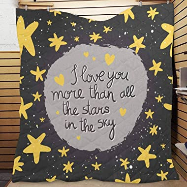 InterestPrint I Love You More Than All The Stars in The Sky Lightweight Quilt for Spring and Summer Twin XL 70x80