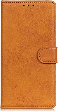 RuiJinHao iPhone 11 Pro Max Flip Case Leather Cover Cell Phone Cover Card Holders Kickstand Extra-Durable Business Cattle Stripe Brief 3 Card Slot (Brown)