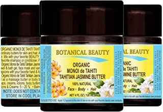 MONOI de TAHITI TAHITIAN JASMINE OIL BUTTER ORGANIC . 100 % Natural / Virgin / Raw / 100% PURE BOTANICALS. 4 Fl.oz.- 120 ml. For Skin, Hair and Nail Care.