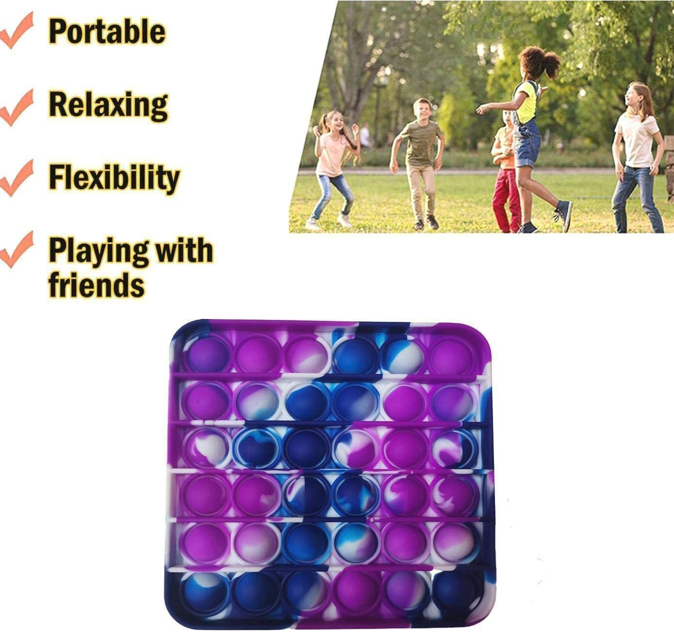 Round Shape Logical Thinking and Stress Relief from Autism Suitable for Stress Relief Training Jesokiibo 3 Push-Bubble Decompression Toys Squeeze Bubble Sensory Toys Durable Soft Silicone Toys