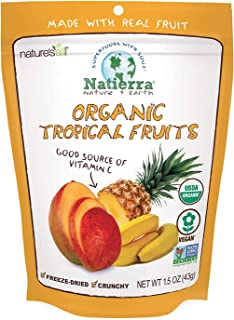 Natierra Nature's All Foods Organic Freeze-Dried Tropical Fruits | Non-GMO & Vegan | 1.5 Ounce (Pack of 12)