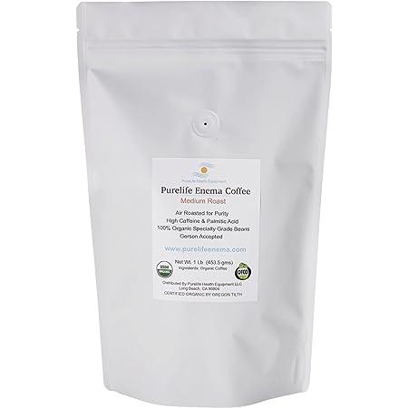 PureLife Enema Coffee- 1 Lb - Organic Gerson Specific - Ground - Mold & Fungus Free - Air Roasted Medium/Shipped Fresh