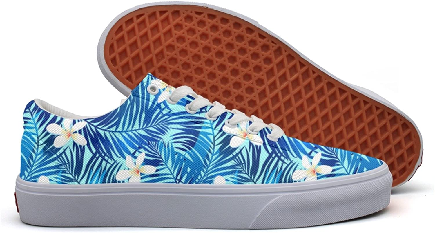 Charmarm Tropical Palms In bluee Leaves Flowers Women Cute Low Top Canvas Walking shoes