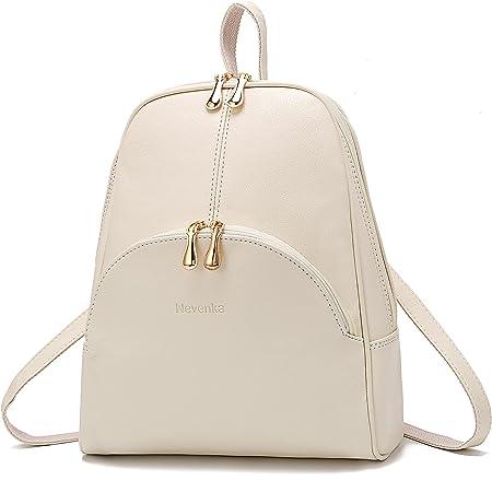 Nevenka Rucksack Damen Cityrucksack Daypack Tagesrucksack PU Leder Zweiwege Reißverschluss Elegantes Design (Weiß)