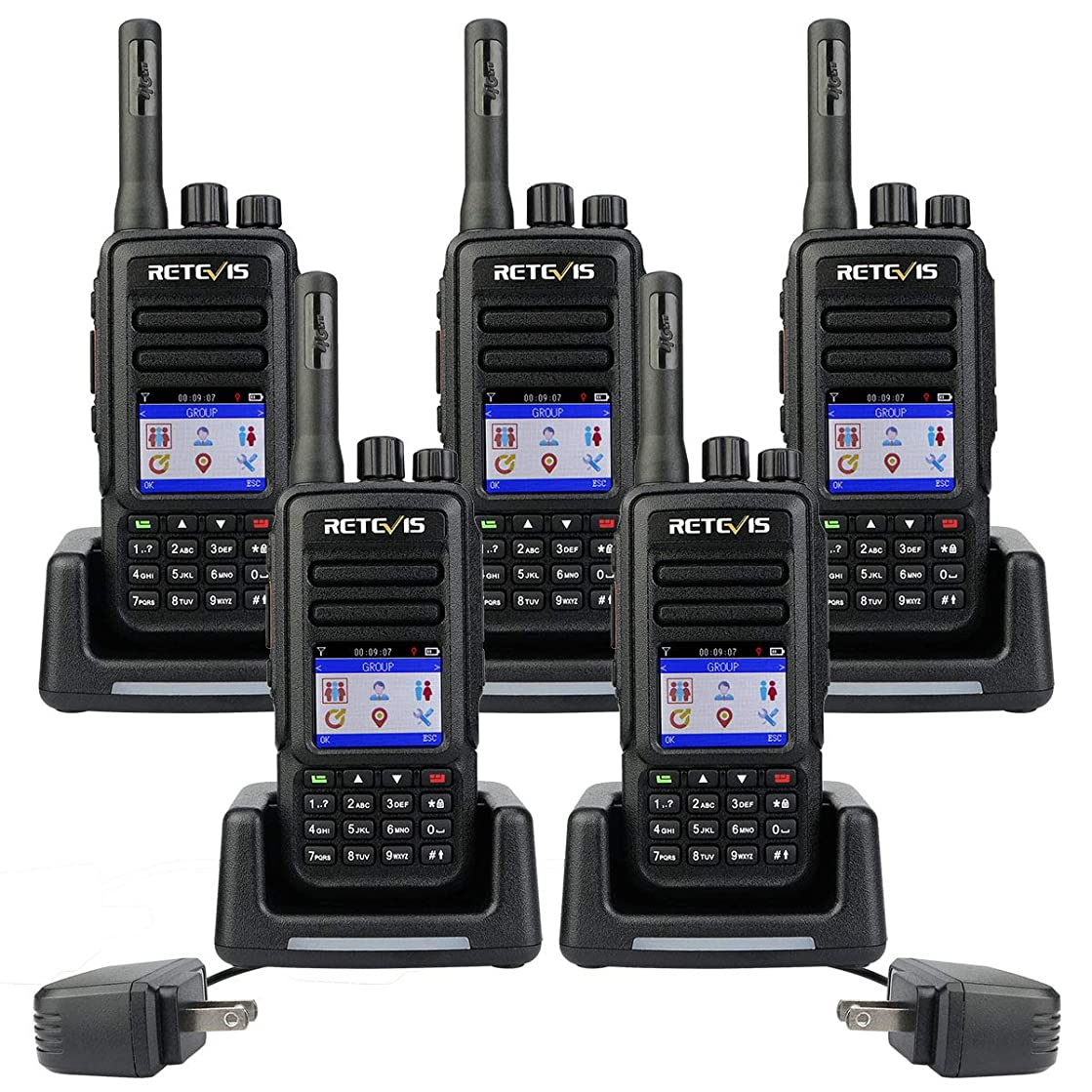 Retevis RT51 4G Walkie-Talkies Network Smart National Coverage Mile Range GPS 4000mAh Rechargeable Battery with SIM Card Two-way Radios ( 5 Pack)