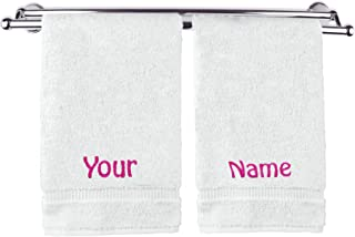 BC BARE COTTON Luxury Hotel & Spa Hand Towel Guest Towel Wedding Engagement (Personalize Your Name, 2 Hand Towels)