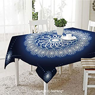 BeeMeng Large Family Picnic Tablecloth,Fractal Conceptual Flower Round Fantastic Energetic Framework,Dark Blue White Blue59 x 104 inches