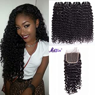 Maxine 3 Bundles Brazilian Hair 9A Deep Curly Wave with Middle Part 4x4 Lace Top Closure Unprocessed Virgin Human Hair Extensions Natural Colour (10 12 14 + 10)