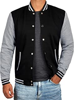 Mens Letterman jacket - Varsity Baseball Men Bomber Jackets - Black / Grey, Yellow and Red Sleeves