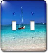 3D Rose LSP_230736_2 الولايات المتحدة الأمريكية، هاواي، أوهاو، زورق شراعي في المرساة في الماء الأزرق مع مفتاح ربط مزدوج للسباحة