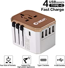 Unidapt International Power Adapter Travel Charger - All in one Universal World Usb Travel Adaptor with 4-Usb for Euro, AU, UK, USA - 160 Countries (Rose Gold)