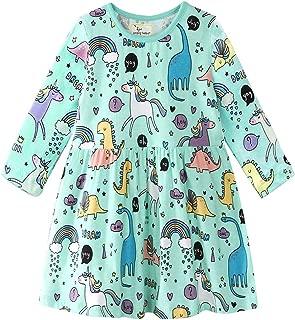 Bleubell Girls Long Sleeve Dress Fun Printed for Toddlers Tweens 2-12Y