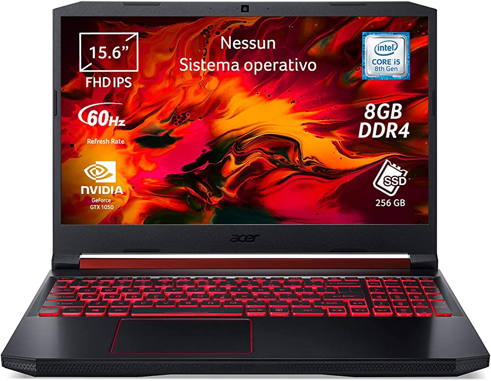 Acer nitro 5 notebook gaming, intel core i5-8300h, ram da 8 gb ddr4, 256 gb NH.Q5AET.016