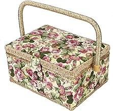 Scharnier, Naaien Kit Box, Naaimand Naaien Supplies Organizer Box voor Kunst Ambachten Benodigdheden (Oranje Naalddraad) S...