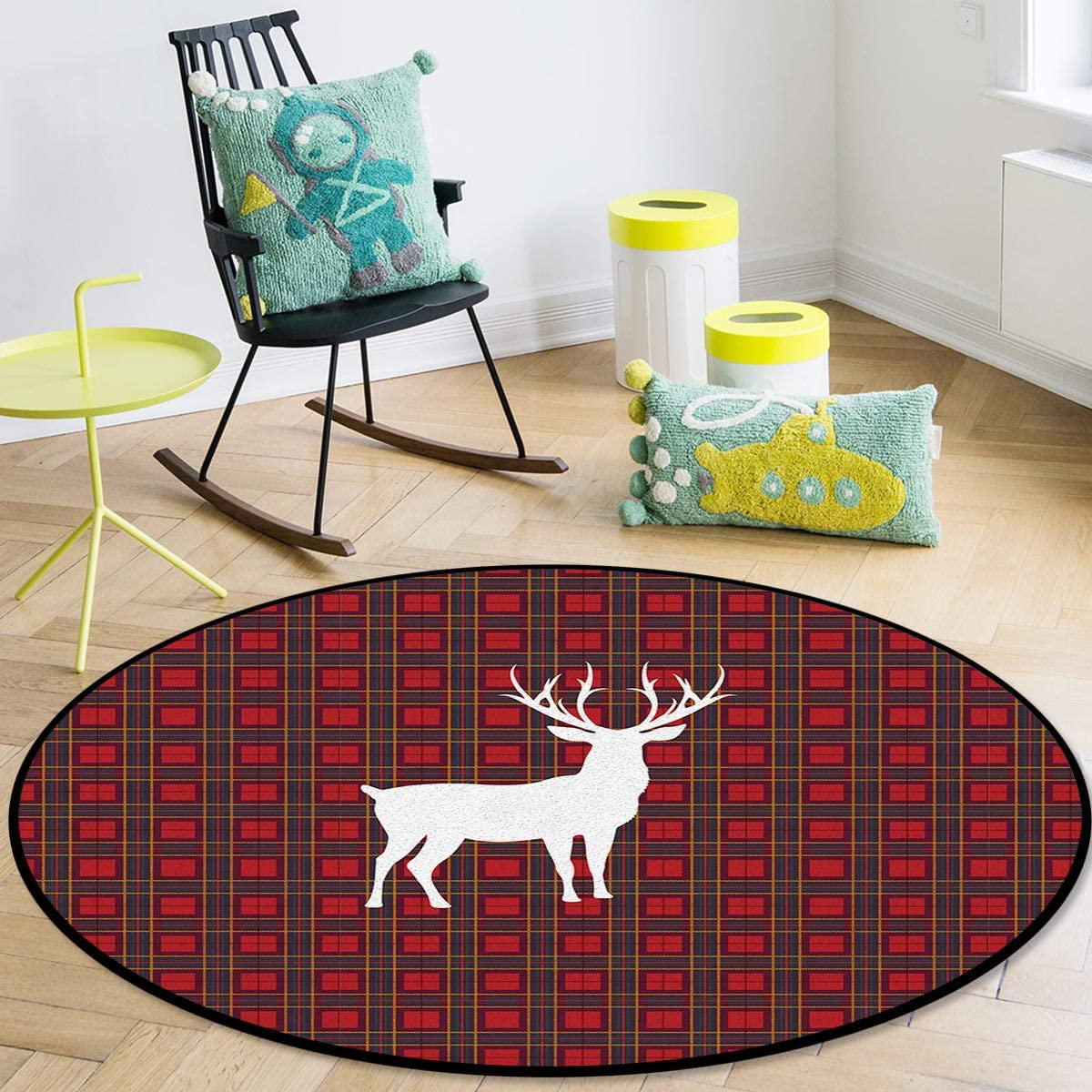 OneHoney Round Area Rugs 2021 model Christmas Red NEW before selling ☆ Buffalo Lattice Reindeer