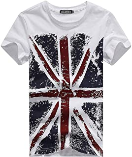 Union Jack Flag/Men Short Sleeve T-Shirt, Fashion UK England Flag Printed T Shirt for Man, Causal Top & Tees Male Clothes