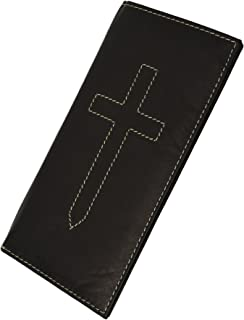 Basic Leather Checkbook Cover Cross Sign BY Marshal wallet(Black)