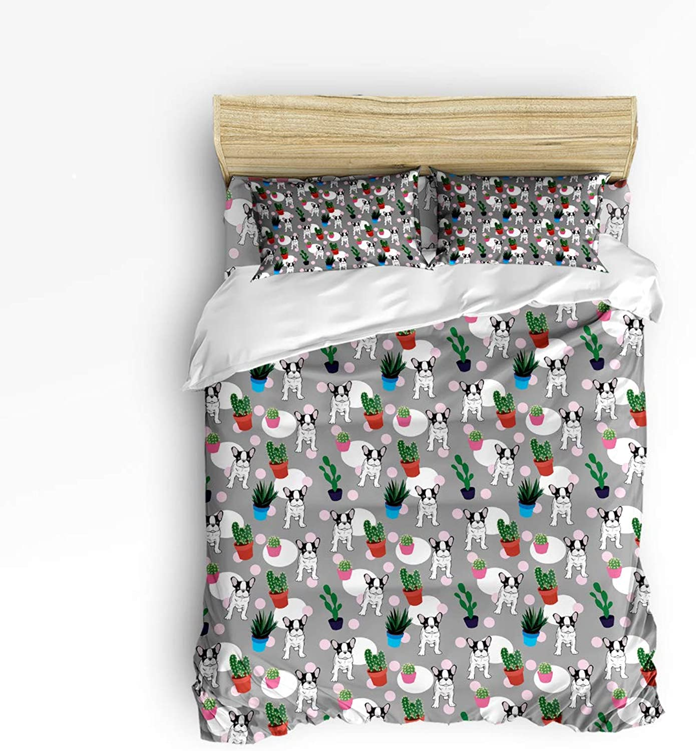 USOPHIA Twin Size 4 Pieces Bed Sheets Set, Bulldog and Cactus Plants Spikes Cartoon Like Art Print, 4 Pieces Bed Sheets Set,
