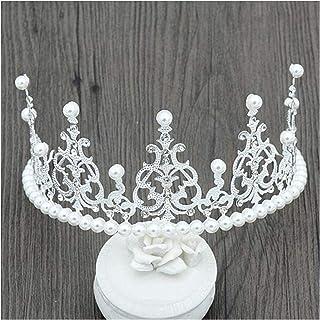 XIAOGING Accessori di Moda Nuovo Semplice Solid White Pearl Copricapo Corona di Capelli della Sposa di Cerimonia Tiara Fas...