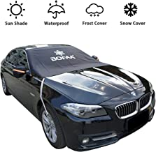 BOFAA Car Windshield Snow Cover (Non-Magnetic), Windshield Cover with Mirror Covers, Blocking Snow, Fallen Leaves, UV Sun Rays, Elastic Hooks Design Will Not Scratch Paint (M - 85 x 49 inches)