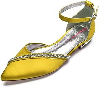 ec25ebc73cbc MarHermoso Women s Satin Ankle Strap Pointed Toe Rhinestones Comfort Flats  Wedding Bridal Shoes