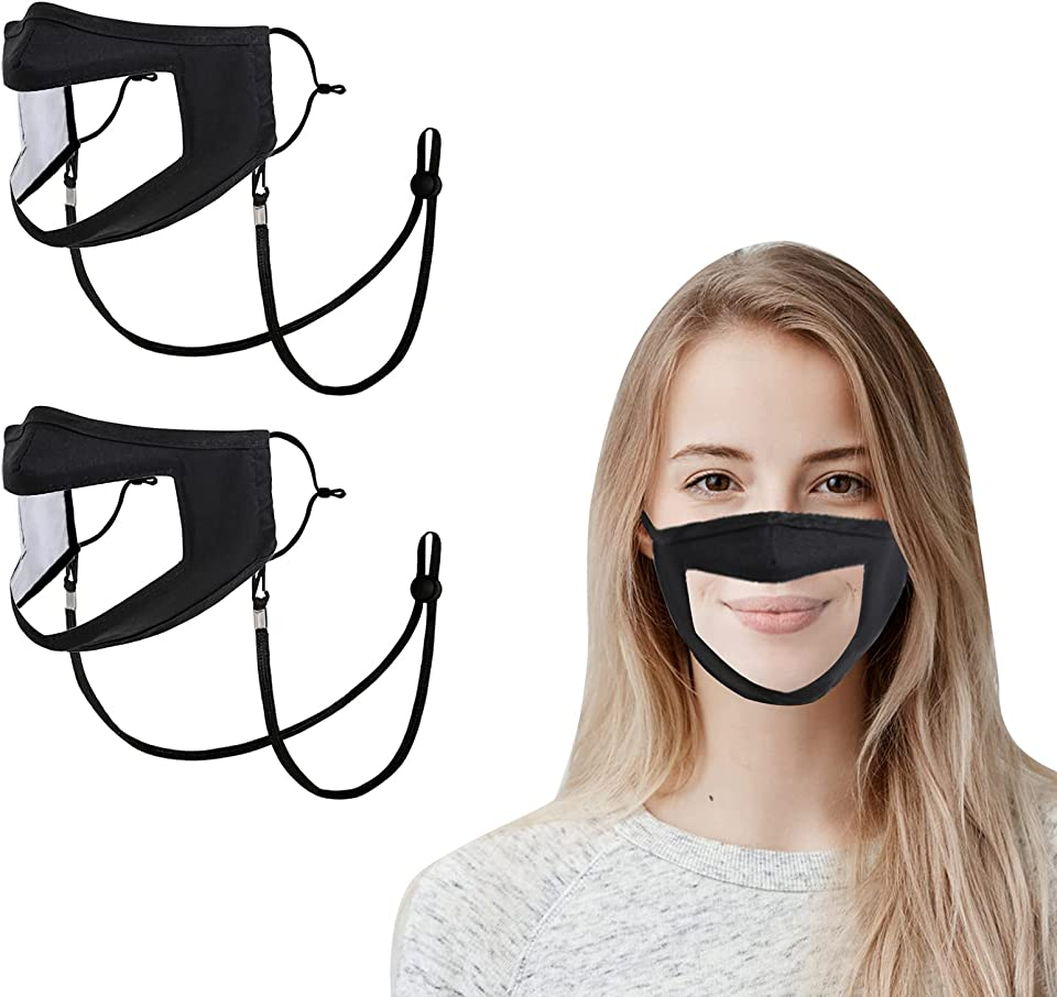 No Fog Clear Face Mask Transparent Plastic Reusable Visible Mouth Nose Wire Adjustable Adult