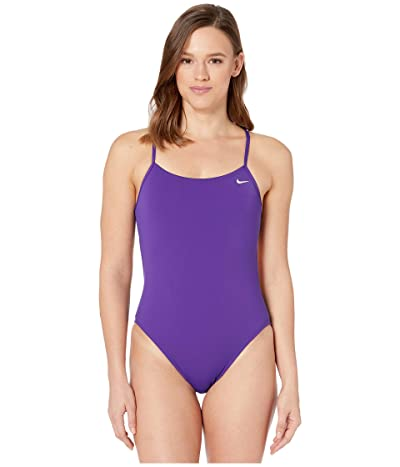 Nike Solid Poly Cut-Out Tank Swimsuit (Court Purple) Women