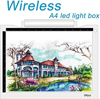 Wireless A4 LED Light Box for Tracing Artcraft Tracing Light Pad Battery or USB Cable Powered 5600 Lux LED Light Table,Gryiyi Tracing Light Boxes for Diamond, Painting, Artists Drawing, X-ray Viewing