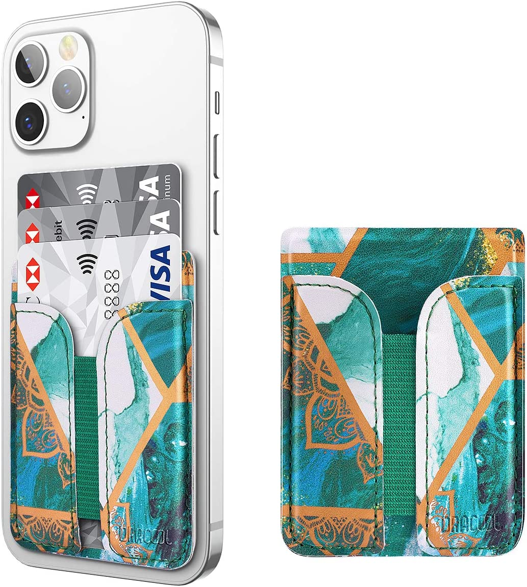 Dracool for Phone Card Holder Stick on Wallet ID Credit Card Holder Leather Stretchy with 3M Adhesive Sticker Phone Card Sleeve Pouch Pocket for iPhone Samsung Google All Smartphones - Green Marble