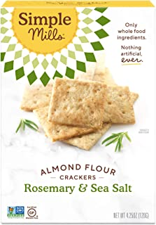 Simple Mills Almond Flour Crackers, Rosemary & Sea Salt, Gluten Free, Flax Seed, Sunflower Seeds, Corn Free, Good for Snacks, Made with whole foods, (Packaging May Vary)