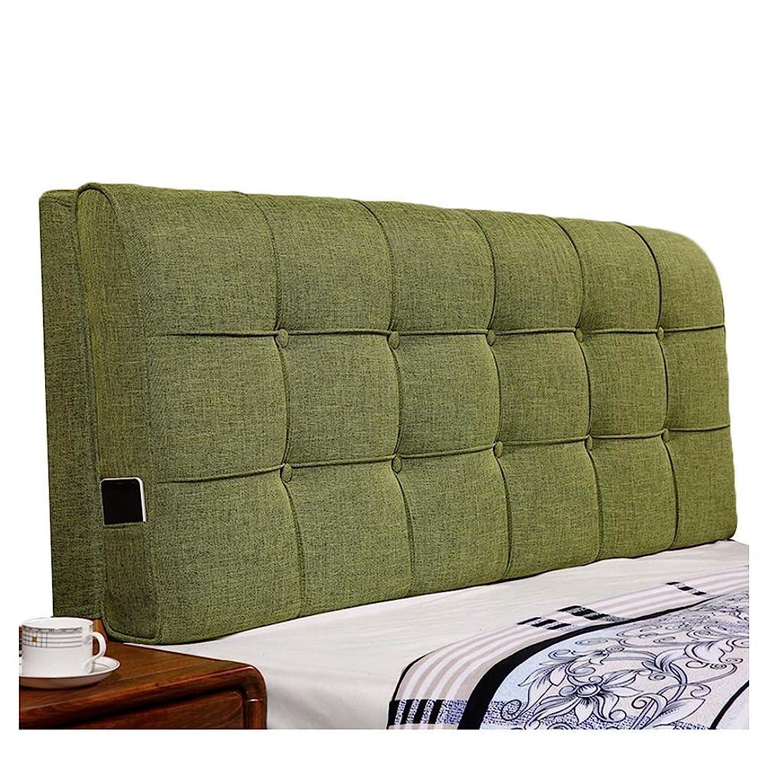 リンク飢饉傑作WZBヘッドボードクッションソフトケースクロスモダンシンプルダブルベッドリムーバブルおよびウォッシャブル、3色、6サイズ(色:緑、サイズ:180x60x12cm)