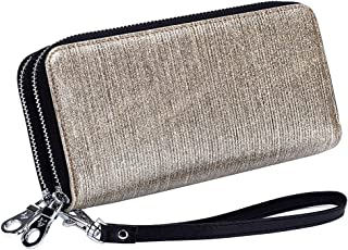 Women's Wallet RFID Blocking Leather Double Zipper Cellphone Wallet Long Purse with Removable Wrist Strap (Gold)