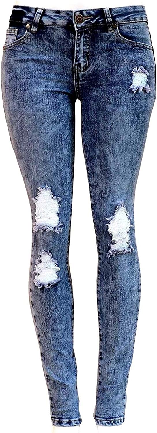 Diamante Juniors Spring new work one after another Women's Blue Denim Skinny Free Shipping New Ripped Destroy Jeans