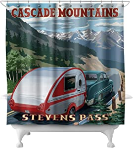 Lantern Press Stevens Pass, Washington - Retro Camper 45904 (74x74 Polyester Shower Curtain)