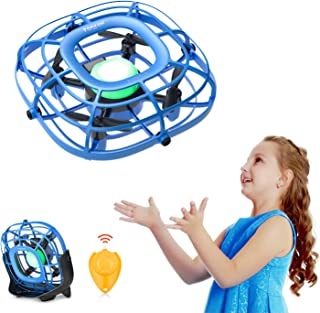 Mini Drone, Levitation UFO Drone, Hand Operated Quad Induction for Kids, Easy Controlled 2 Speed, RC Mini Handheld USB Fan, Flying Ball Toys for Boys and Girls, Tomzon A15 Blue