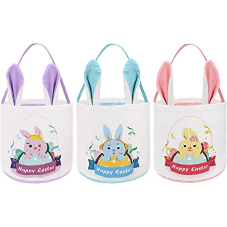 Girl/'s Personalized Bunny Easter Egg Tote Bag Basket