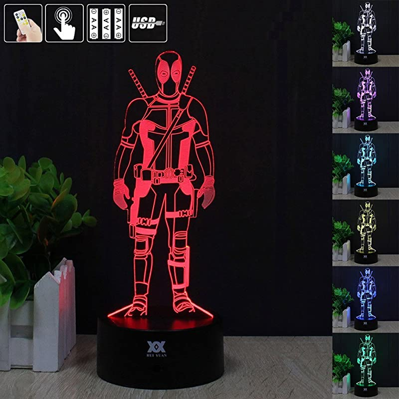 3D Optical Illusion Stand Deadpool Night Desk Table Light Lamp Home Childrenroom Office Party Theme Decoration Birthday Holiday Gift By HUI YUAN