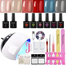 COSCELIA Gel Nail Starter Kit 6 Colors Gel Nail Polish 10ml Top and Base Coat With LED UV Nail Lamp Manicure Tools and Decorations