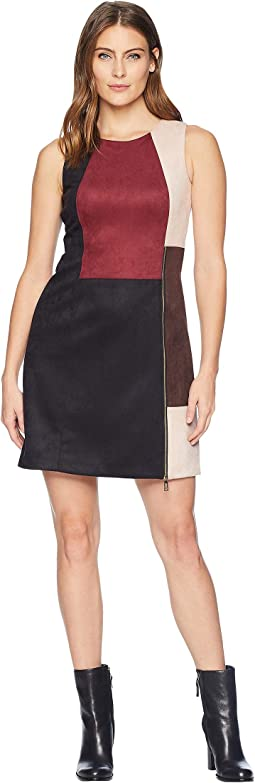 Sleeveless Mixed Media Suede and PU Dress
