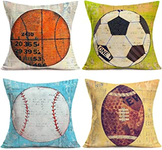 Doitely Cotton Linen Cushion Cover Retro Vintage Background Ball Sports American Basketball Football Softball Rugby 18