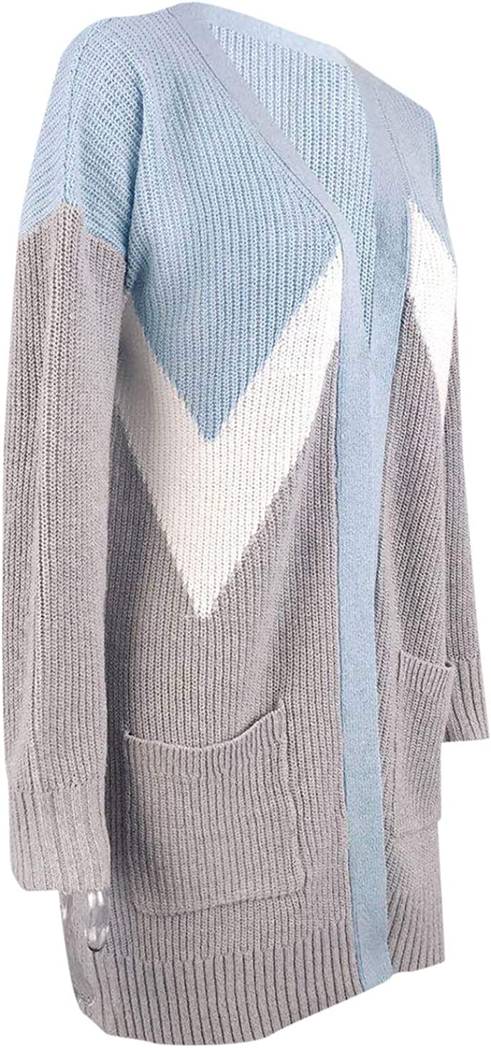 Afelkas Cardigan Sweaters for Women Long Sleeve Color Block Coat Long Knitted Double Pockets Shirt Casual Daily Blouse