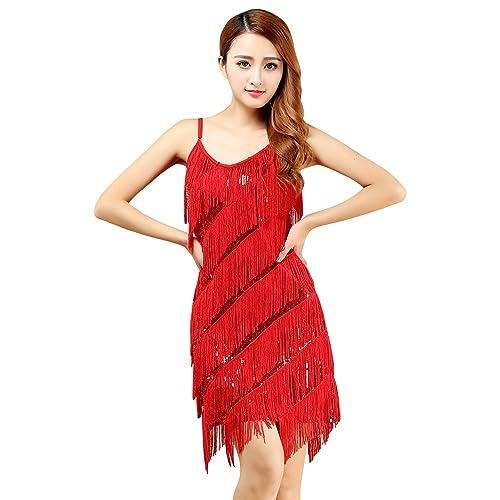 e77ad1485 BellyQueen Women Latin Dance Dress One Piece Lace Dancewear Ballroom Salsa Tassel  Dancer Costume Outfit